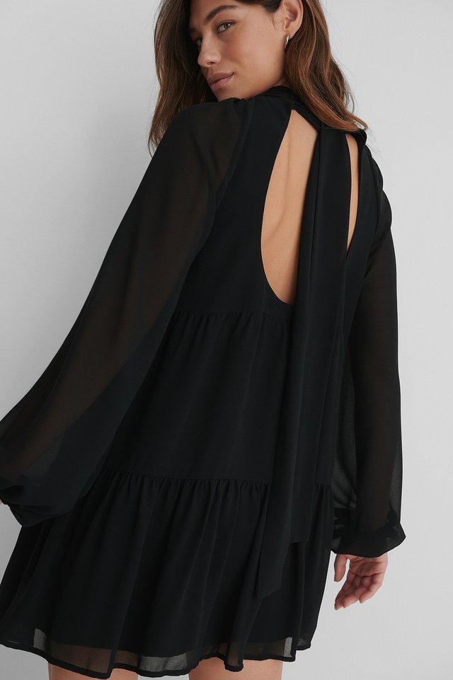 Open Back Frill Chiffon Dress Black