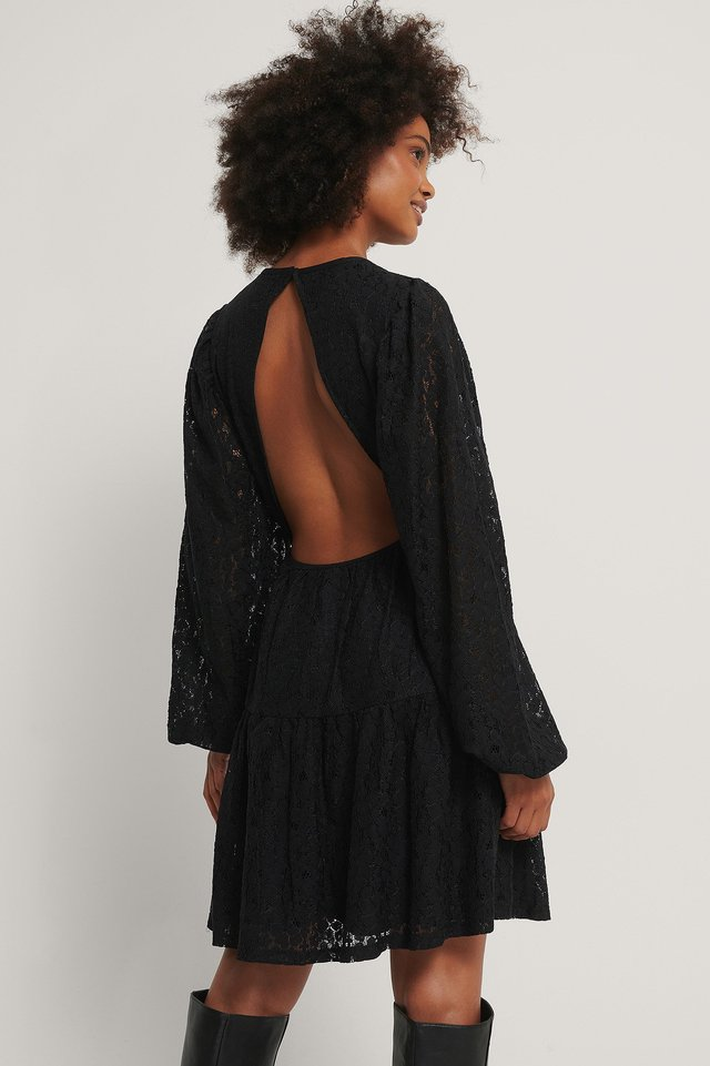 Black Open Back Balloon Sleeve Dress