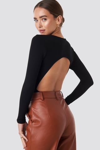 Deep Black Open Back Bodysuit