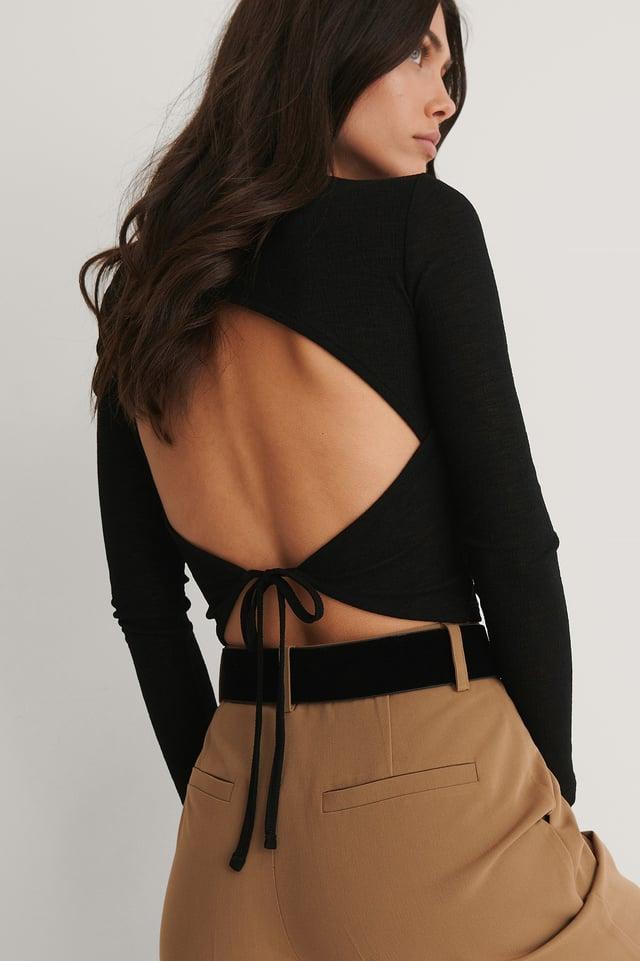 Open Back Crepe Long Sleeve Top Black