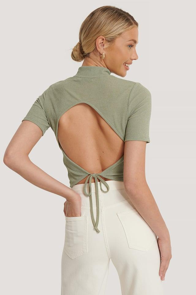Open Back Crepe Top Khaki