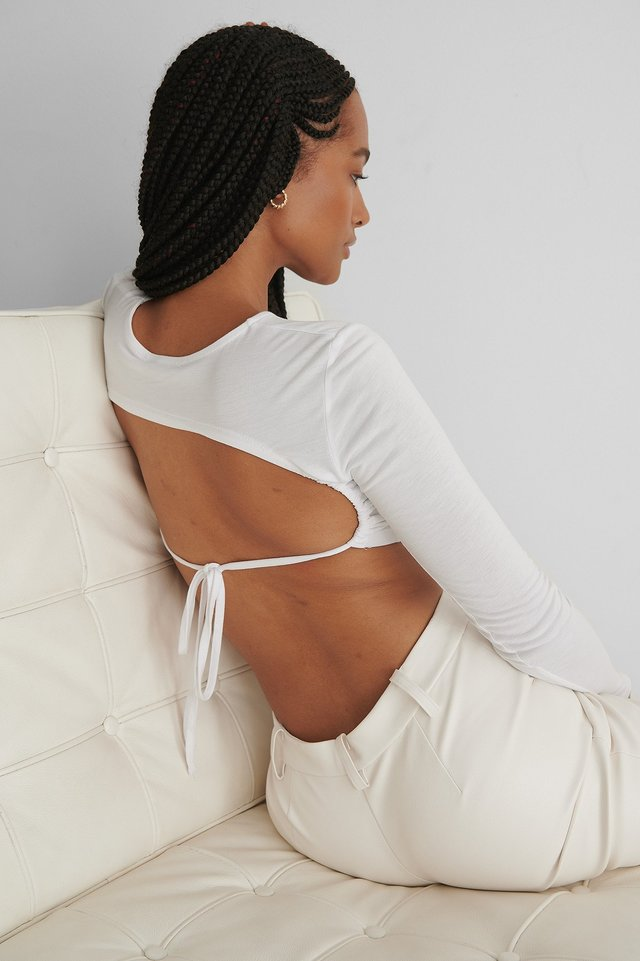 Open Back Detail Jersey Top White