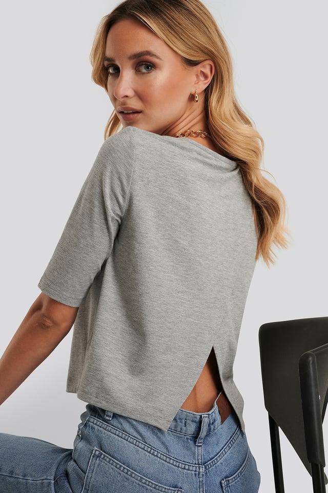 T-Shirt Odsłaniający Plecy Grey Melange