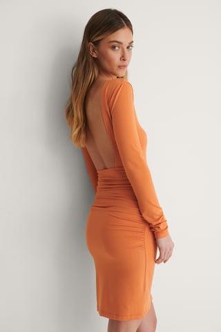 Burnt Orange Open Back Draped Dress