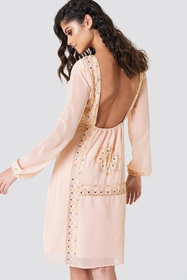 Open Back Embellished Dress Beige