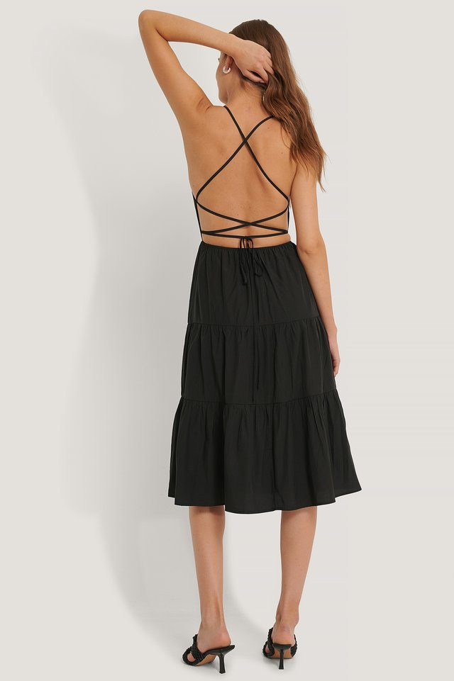 Black Open Back Flounce Dress