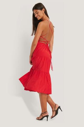 Oxblood Open Back Flounce Dress