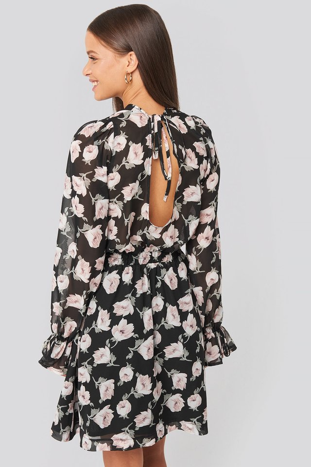 Open Back Flower Printed Dress Black/Pink Flower Print
