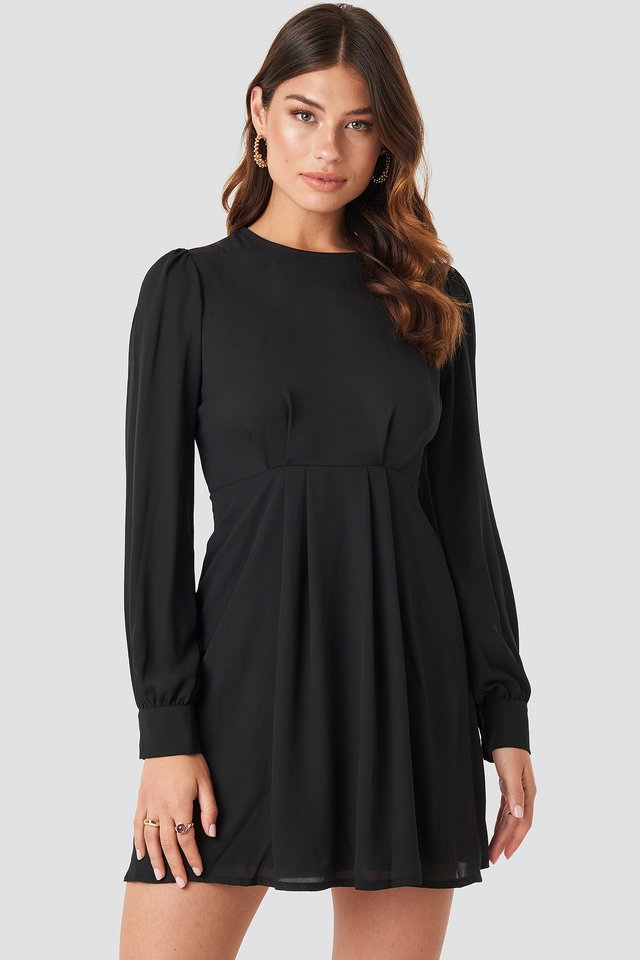 Open Back Flowy Mini Dress Black