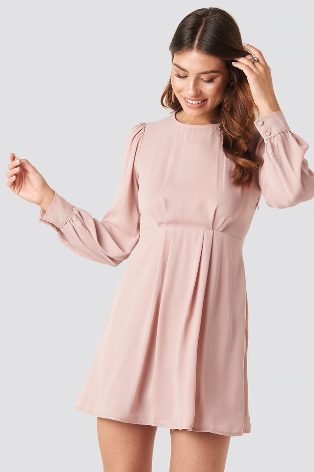 Open Back Flowy Mini Dress Dusty Pink