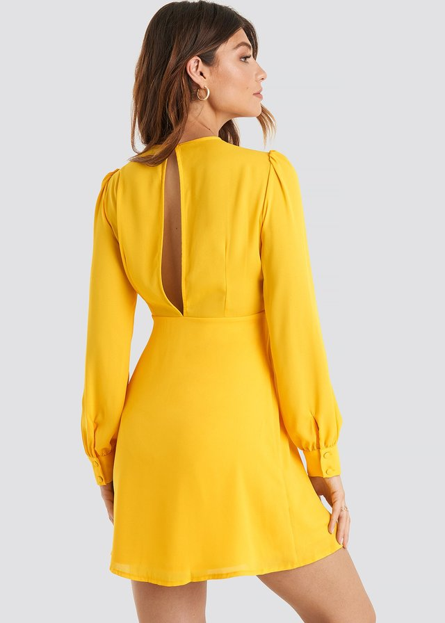 Open Back Flowy Mini Dress Citrus