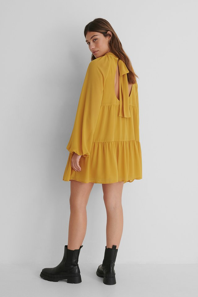 Open Back Frill Chiffon Dress Mustard
