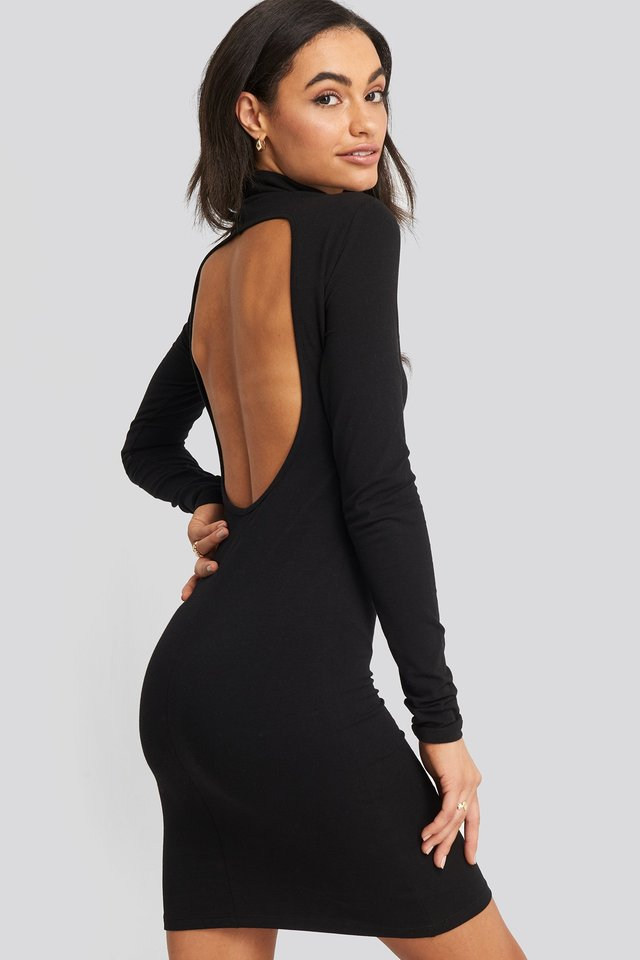Open Back High Neck Dress Black