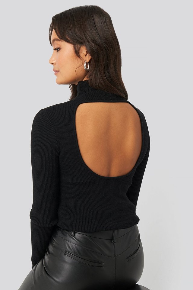 Open Back High Neck Knitted Sweater Black