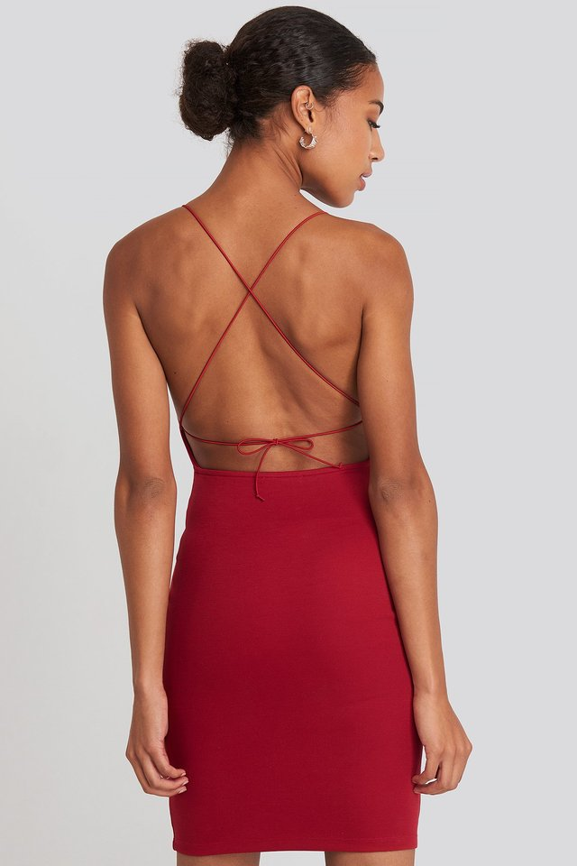 Open Back Jersey Dress Red