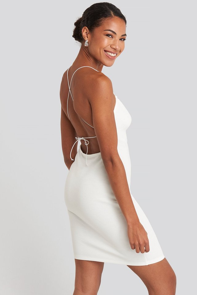 Open Back Jersey Dress Off White