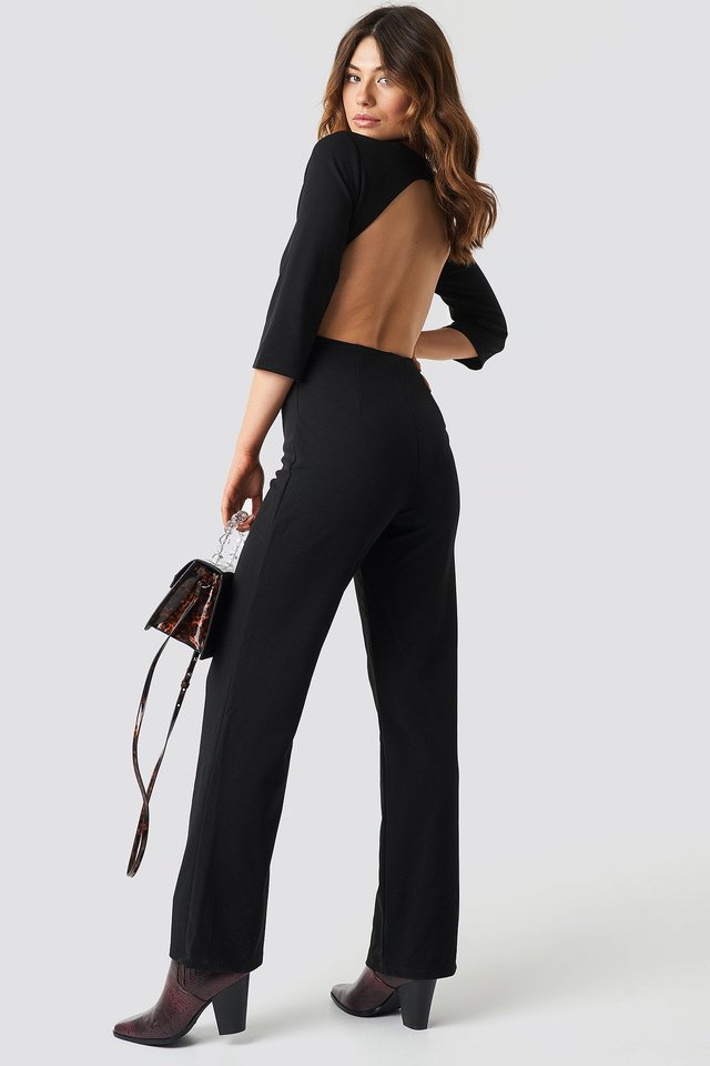 Open Back Jumpsuit Black