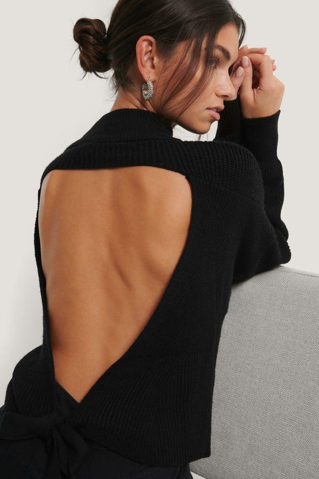 Vestido De Punto Con La Espalda Abierta Black