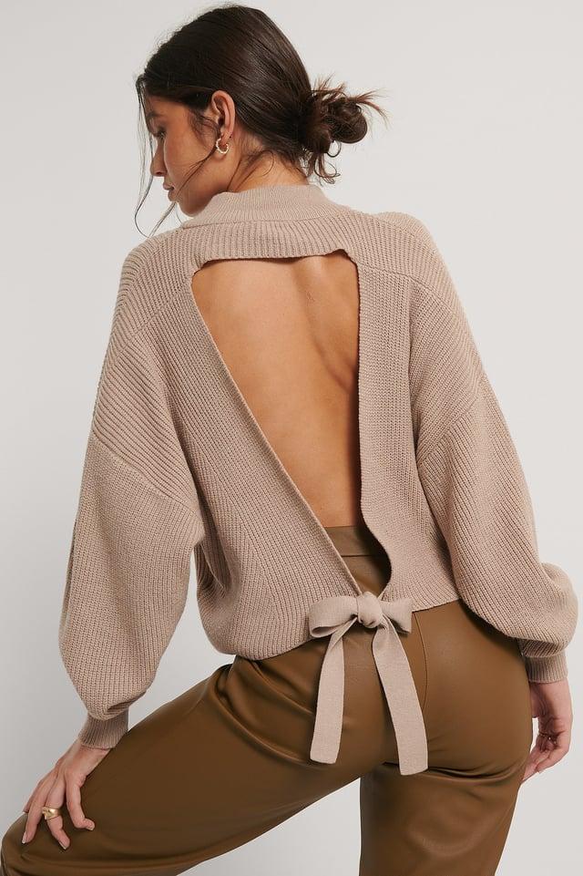 Vestido De Punto Con La Espalda Abierta Beige