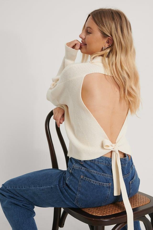 Vestido De Punto Con La Espalda Abierta Off White