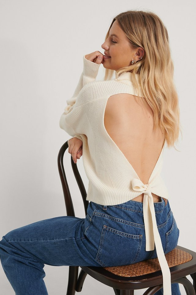 Open Back Knit Off White