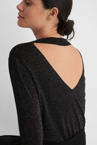 Black Open Back Knitted Glitter Sweater