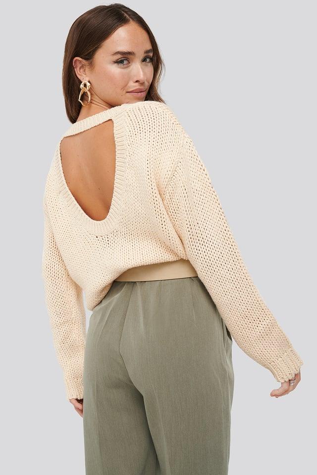 Open Back Knitted Sweater Beige