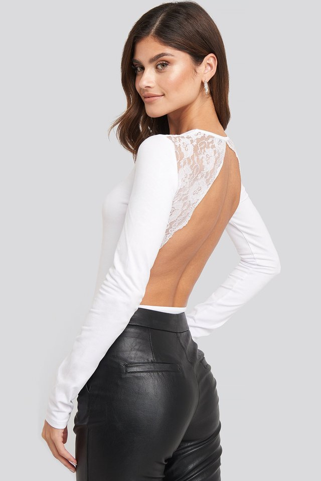 Open Back Lace Body White