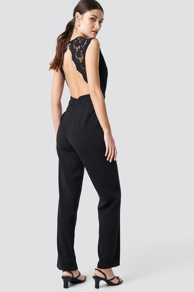 Open Back Lace Part Jumpsuit Black