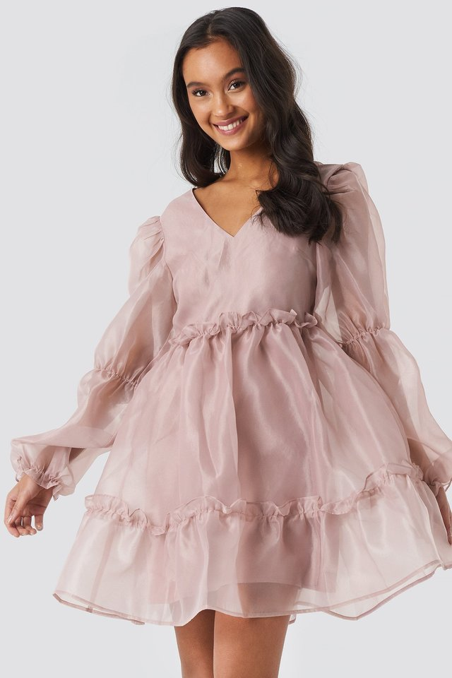 Open Back Organza Dress Powder Pink