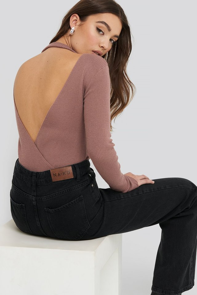 Open Back Overlap Knitted Sweater Dusty Dark Pink