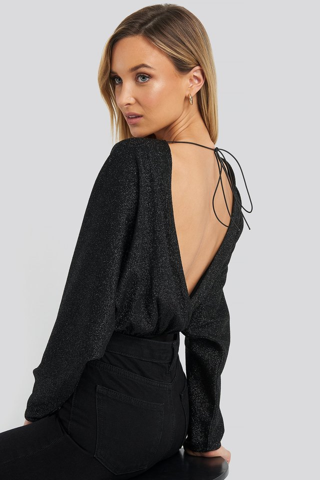Open Back Plunge Neck Lurex Bodysuit Black