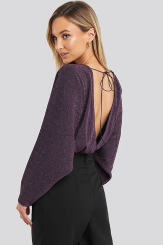 Purple Open Back Plunge Neck Lurex Bodysuit