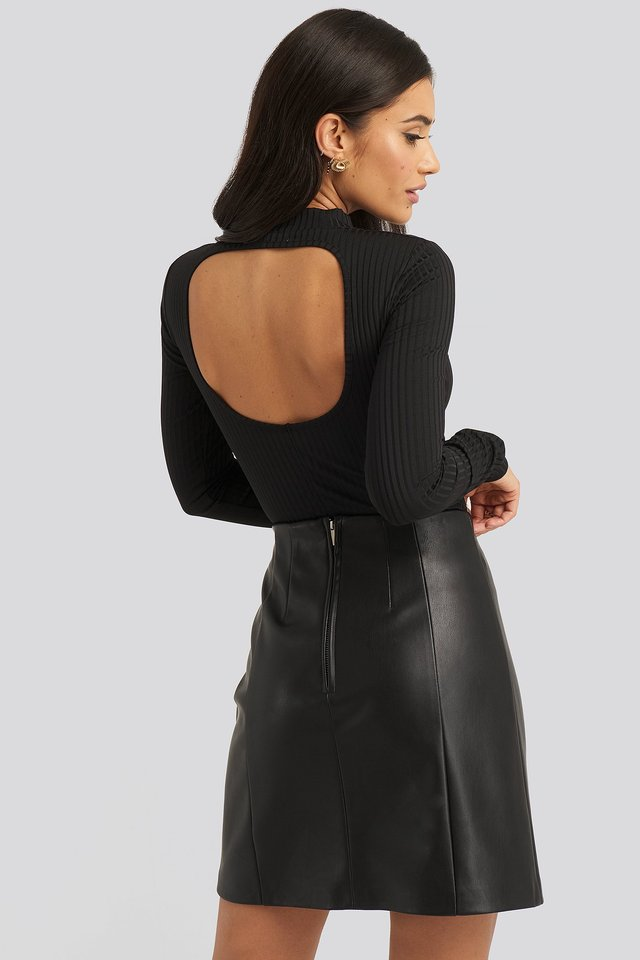 Open Back Ribbed Body Black
