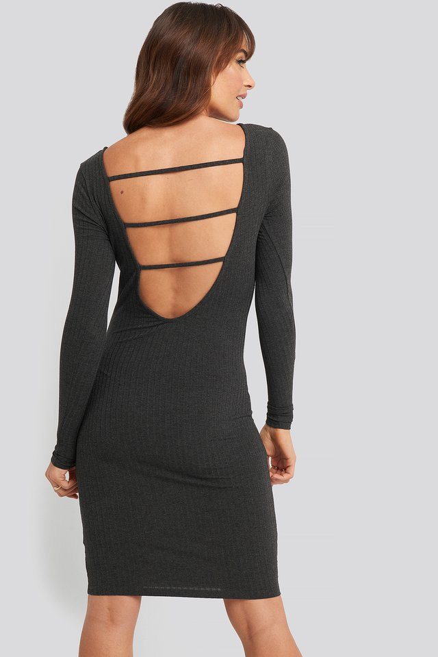Open Back Ribbed Mini Dress Grey