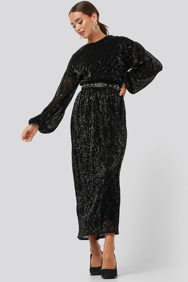 Open Back Sequin Dress Black