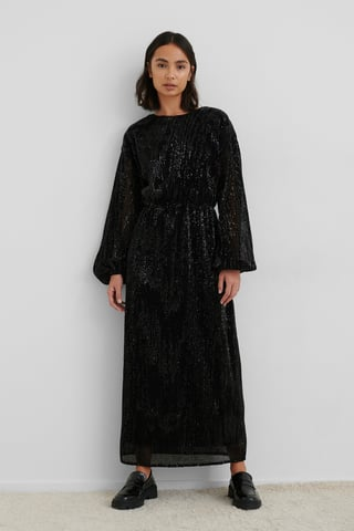 Black Open Back Sequin Dress