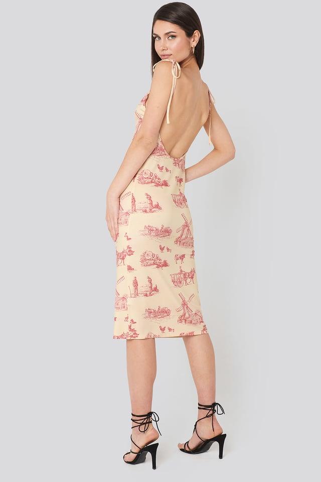 Open Back Shift Midi Dress Print
