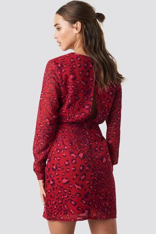 Red Leo Print Open Back Short Dress