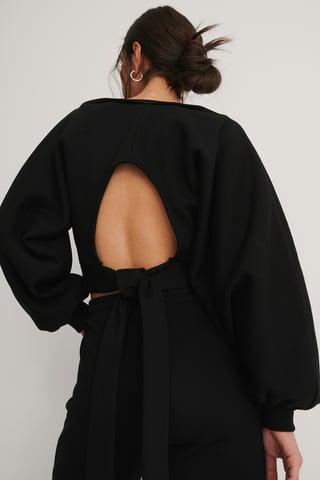 Black Organisch Pullover Mit Offenem Rücken