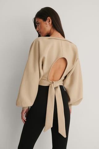 Beige Organic Open Back Sweater