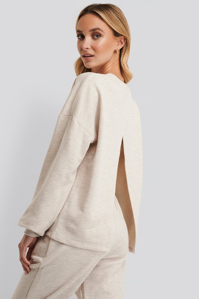 Open Back Sweatshirt Beige Melange