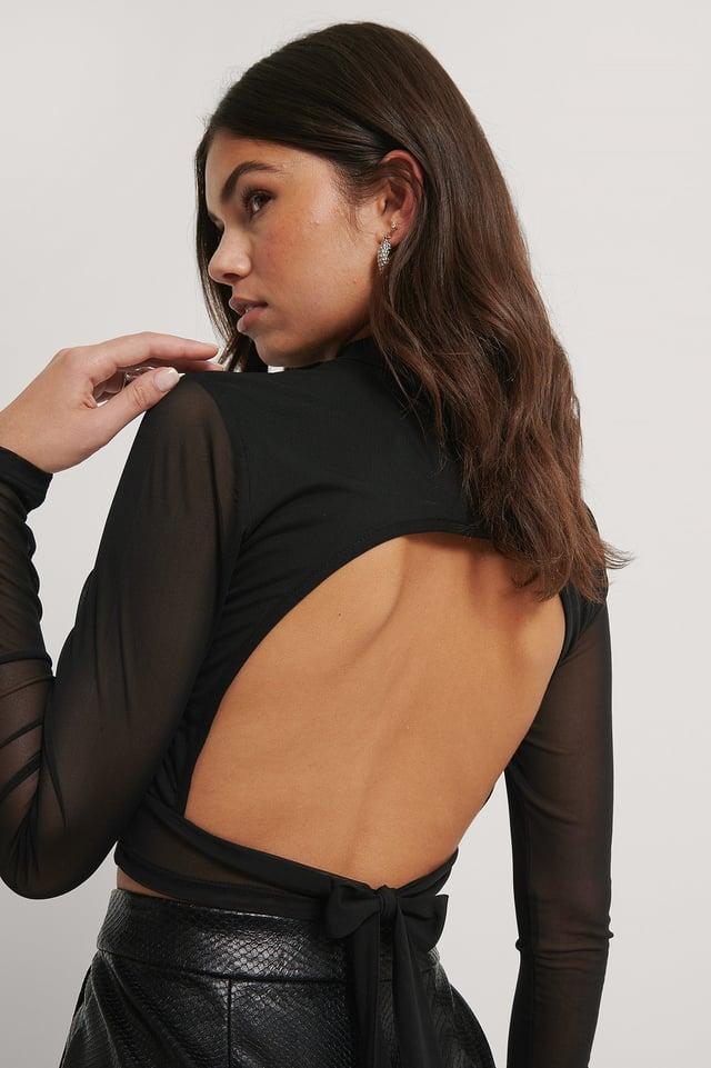 Black Open Back Tie Mesh Top
