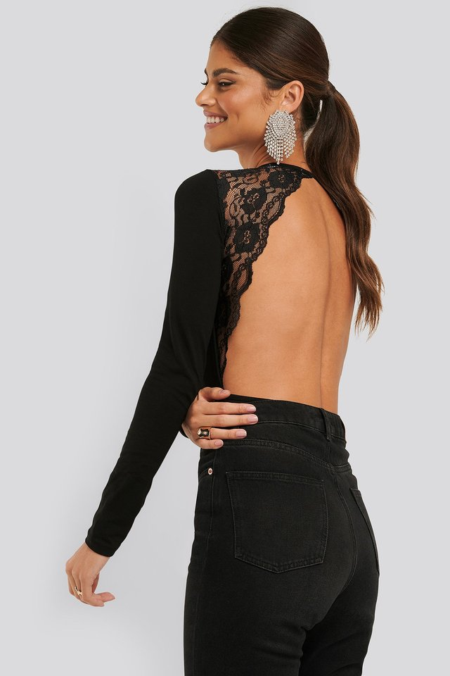 Open Back Lace Body Black