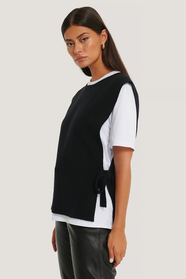 Black Open Side Knitted Vest