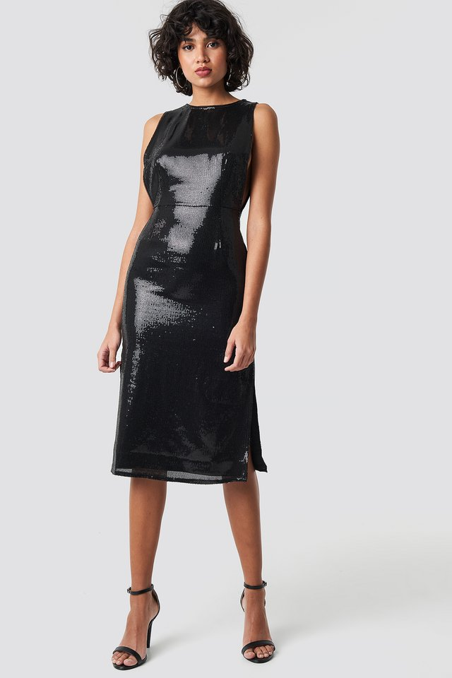 Open Side Sequin Midi Dress Black