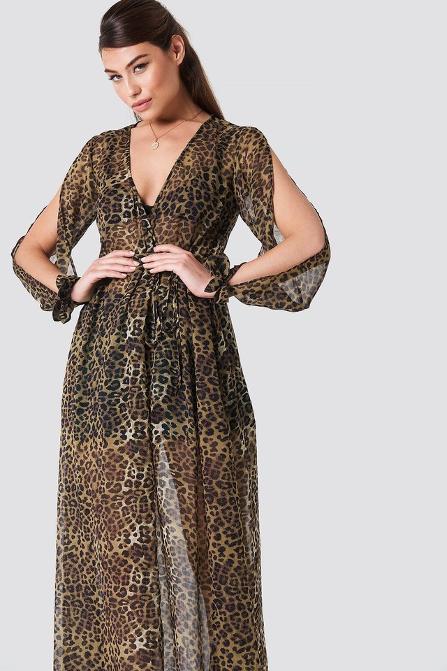 Open Sleeve Chiffon Coat Dress Leoprint