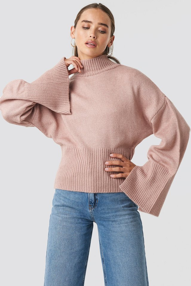Pink Open Sleeve Knitted Sweater