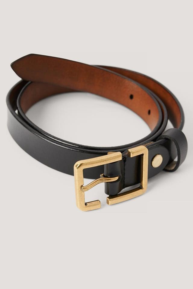 Open Square Buckle Belt Black