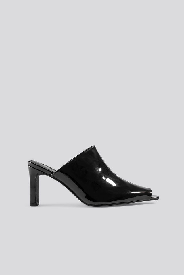 Open Toe Mules Black
